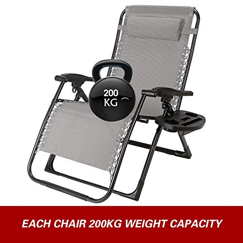 Superworth Super Width 57 CM Folding Zero Gravity Chair Beach Chairs Sun Lounger Recliner For Beach Patio Garden Camping Outdoor Square Steel Legs With Free Holder 200KG Capacity Gray