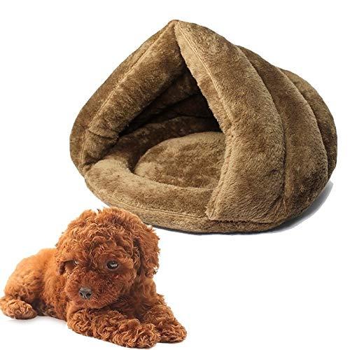 Mascota Interior suave sofá cama for mascotas cama nido saco de dormir cachorro de gato portátil plegable alfombra cueva mascota media cubierta zapatilla de cama con forma de casa cueva invier