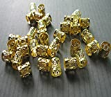 Dread Lock Dreadlocks Braiding Beads Golden Metal Cuffs Hair Accesories Decoration Filigree Tube 6mm 12pcs Pack