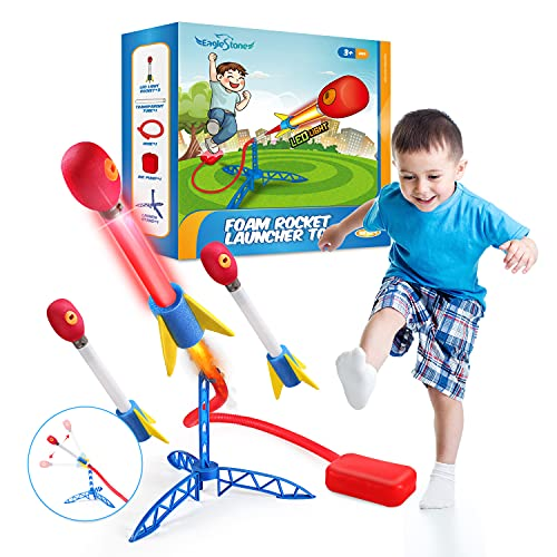 EagleStone Rocket Launcher for Kids Stomp Launch Toys with 3 LED Rockets Foam Tipped Rockets up to 100 Feet,Outdoor Rocket Stem Gift for Boys and Girls Ages 5 6 7 8,Great Outdoor for Outside Play