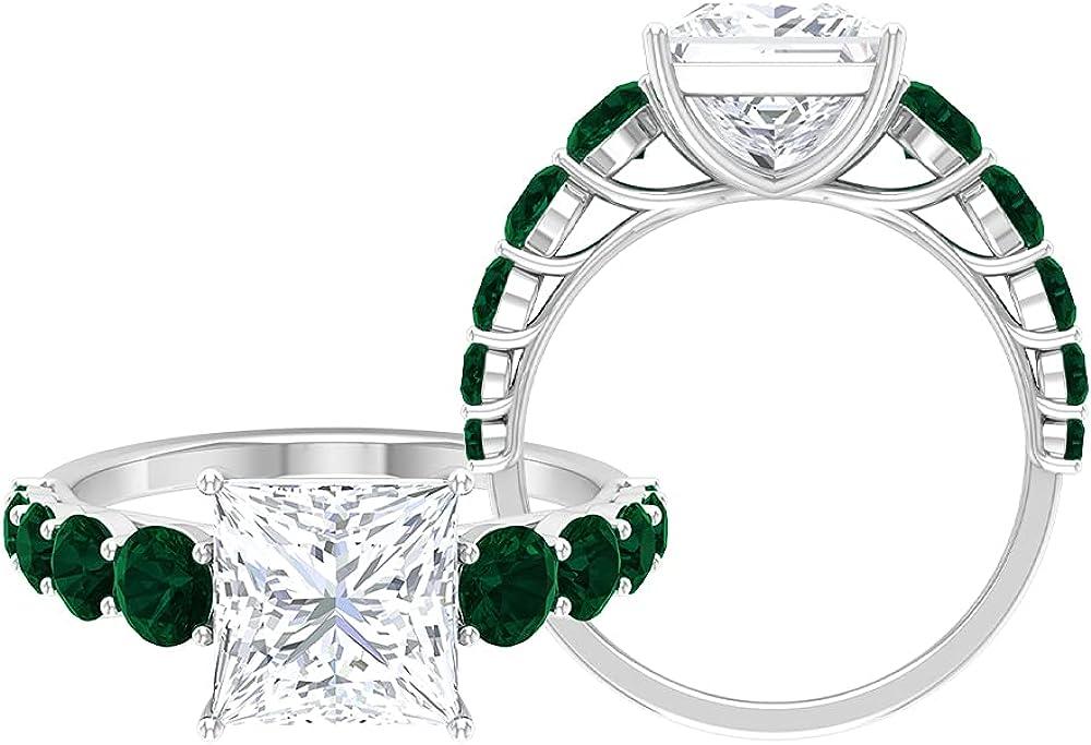 Princess Cut Moissanite Award-winning store Ring 70% OFF Outlet Side Fo Rings Stone Designer