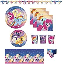 FAKKOS Design My Little Pony Birthday Party Supplies Pack for 16 Guests Including: Banner, Table Cover, Large and Small Plates, Napkins and Cups