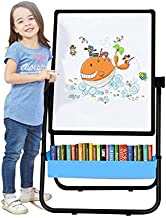 Kids Art Easel Whiteboard&Chalkboard Double Sided Easel, 29.5inch-44inch Height Adjustable & 360°Rotating with Magnetic Letters and Numbers (Black)