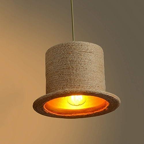 TZZ Pays créatif Lustre Corde De Chanvre Suspendus Plafonnier Vintage Pendentif Lumières Luminaire Rustique Art Déco pour Salon Salle à Manger Cuisine