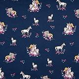 0,5m Jersey Pferde-Mädchen dunkelblau 95% Baumwolle 5% Elasthan Meterware 140cm breit Gewicht: ca....