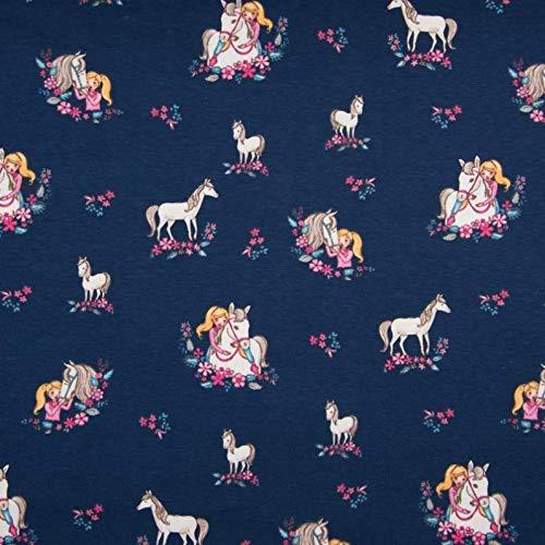 0,5m Jersey Pferde-Mädchen dunkelblau 95% Baumwolle 5% Elasthan Meterware 140cm breit Gewicht: ca. 200g/m2 Motivgröße Pferd ca. 5,5cm