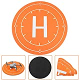 Feleph Drone Landing Pad Mini Aircraft Landing Mat 19.69inch Windproof Drone Launch Pad Foldable Weighted RC Helicopter Helipad Accessories Gear Compatible with All Major Brands