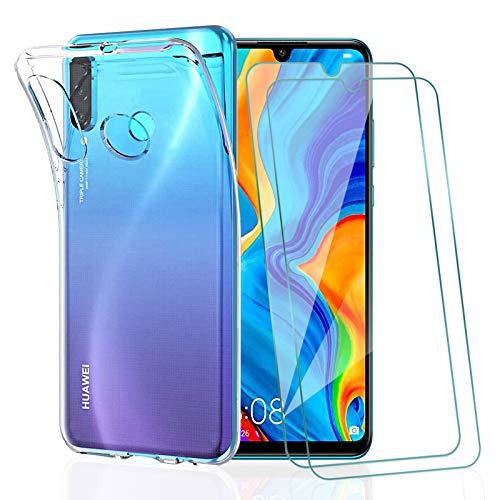 KEEPXYZ Funda para Huawei P30 Lite + 2 Pcs Protector de Pantalla para Huawei P30 Lite Cristal Templado, Flexible Suave Silicona Transparente TPU Carcasa + Vidrio Templado para Huawei P30 Lite