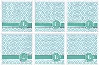 InspirationzStore Monograms–カスタマイズ文字L Aquaブルー四つ葉模様ティールターコイズミントモノグラム初期–グリーティングカード Set of 6 Greeting Cards