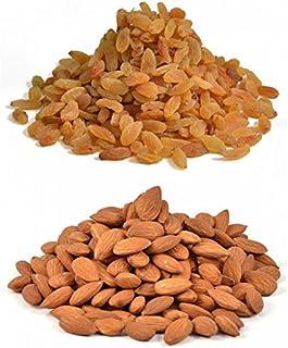 Ancy 100% Natural Jumbo Almonds and Raisins (Badam and kishmish) 1kg (Pack of 4x250gm)||2 Pack Almonds || 2 Pack Raisins