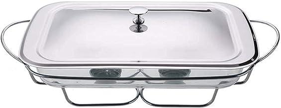 BERTY·PUYI Chafing Dishes Buffet Chauffe-Plats, avec Couvercle en Acier Inoxydable Et Plat en Verre Résistant Au Four-Silver