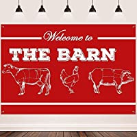 HD Animal Backdrop FHZON 10x7ft Cow Chicken Pig Background Red and White Background Barn Photo Background for Baby Shower Cake Ta e Interior Decoration Studio Booth Banner 304