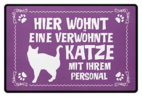 Shirtee .verwöhnte gato con personal – regalo gato dueños en soporte de gato – Felpudo morado 60x40cm