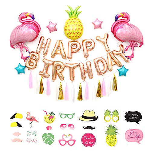 Flamingo and Pineapple Party Supplies - Pack of 55, Flamingo Balloons/Pineapple Balloons/Happy Birthday Set/Tassel Banner/Pentagram Balloon/Flamingo Photo Booth Props, Hawaiian Decorations