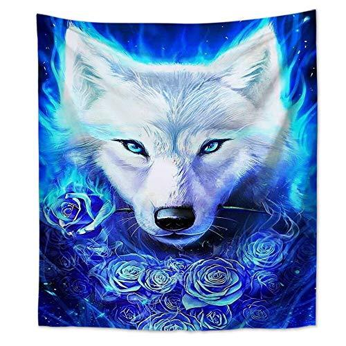 KHKJ INS Nordic Wind Wolf Tapiz Colgante de Pared hogar Sala de Estar Dibujos Animados Animal Tela Colgante Pintura decoración Manta A19 200x150cm