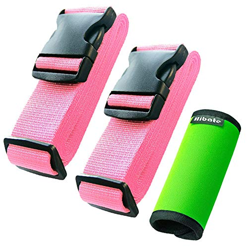 Hibate (2_Pink) Luggage Straps Belts and (1_Green) Neoprene Suitcase Handle Wrap Grip Tags