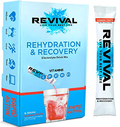 Revival Rapid Rehydration Electrolytes Powder - High Strength Vitamin C, B1, B3, B5, B12 Supplement Sachet Drink, Effervescent Electrolyte Hydration Tablets - 6 Pack Summer Fruits