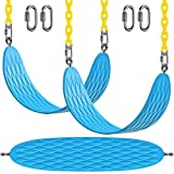 BeneLabel 2 Pcs Swing Seat Heavy Duty with 66' Chain Plastic Coated and Carabiners, Playground Swing Set Accessories Replacement, Seat Width 27.2', 600LB Weight Limit, Blue