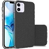 CoverON Carbon Fiber Designed for Apple iPhone 12 Case (5.4'), Slim Scratch Proof Hard Back TPU Grip Phone Cover - Black