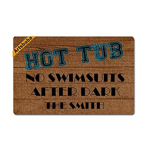 Artsbaba Custom Personalized Doormat Hot Tub No Swimsuits After Dark Door Mat Monogram Non-Slip Doormat Non-Woven Fabric Floor Mat Indoor Entrance Rug Decor Mat 23.6