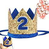 Birthday Crown Headband 2 Birthday Hats 2 Years Old Party Hats for Baby Boys/Girls Smash Cake Photo Props Cat Dog Costumes Baby Birthday Prince Hat (1 Mini 2nd Birthday Crown+10 Balloons for Party)