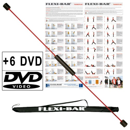 Original Ergobasis Flexi-Bar Set 2020 inkl. 6 Übungs-DVD\'s mit Transport-Tasche in schwarz und Trainingspläne im Komplett-Set mit den beliebtesten 5 DVDs und einer Überraschungs-DVD für ein völlig neues Körpergefühl