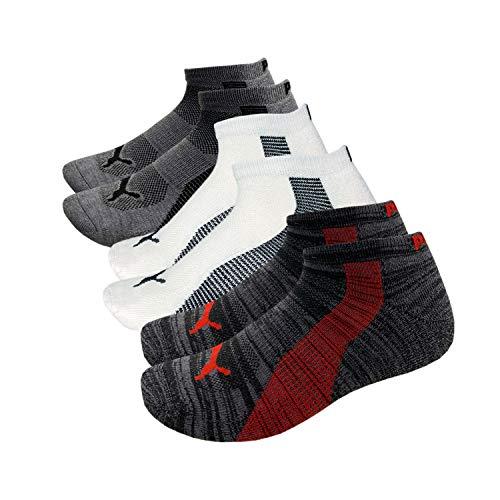 Puma Herren Socken, niedrig geschnitten, Stay-Up Manschette und Ferse, gepolsterte Fußgewölbeunterstützung, 6er-Pack, Herren, Grau/mehrfarbig, 10-13