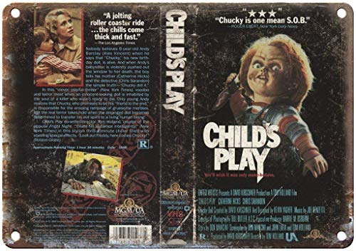 Odeletqweenry Child's Play Chucky Metal Plaque Tin Wall Sign Retro Iron Warning Wall Poster for Cafe Pub Bar Gaming Room Wedding Gift Aluminum Sign 12 x 18 Inch