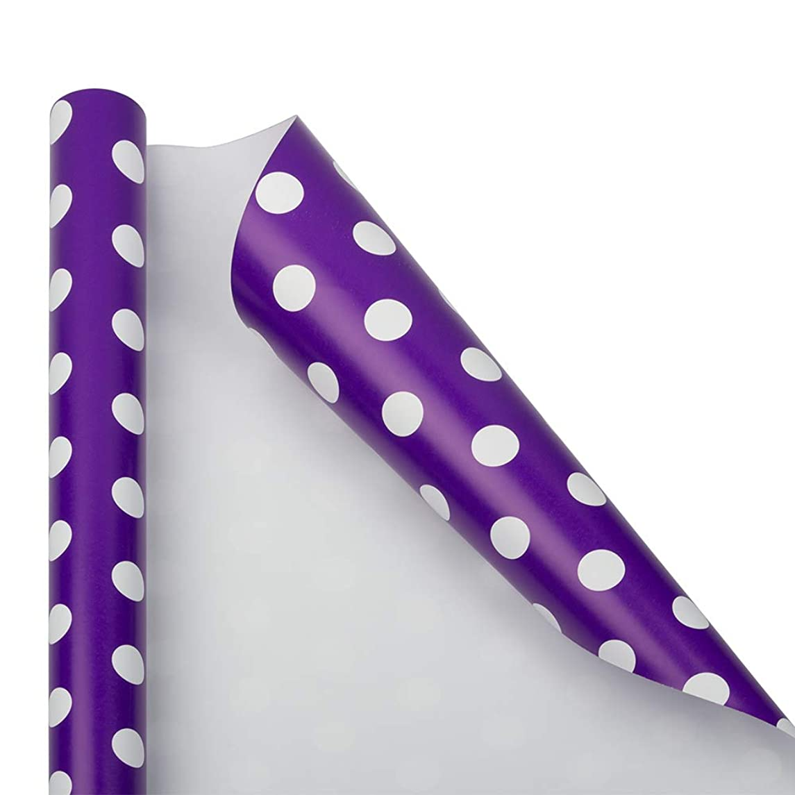 JAM PAPER Gift Wrap - Polka Dot Wrapping Paper - 25 Sq Ft - Purple with White Dots - Roll Sold Individually