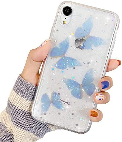 Compatible with iPhone XR Case for Women Girls Bling Glitter Silicone Bumper Cover Cute Blue product image