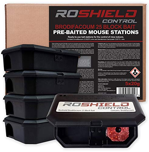 Roshield Pre-Baited Single Feed Mouse Control Safety Box Kit (Ready-to-use...