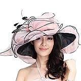 June's Young Women Sun Hats Wide Brim Fancy Derby Hat Polka Dot Pink