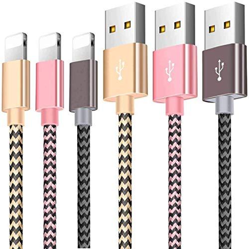 Zeuste Cable iPhone Cargador [3Pack 1.5M] USB Adaptador Compatible con iPhone XS/XR/X/8 Plus/8/7/6S/6+/6, Pad y más (Gris Dorado Rosa)