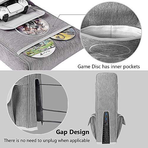 Anti-Staub-Abdeckung für PS5,Schutzhülle für Sony Playstation 5,Anti Scratch Wasserdicht,Unterstützung für PS5, Controller und 12 Game Discs (Grau)