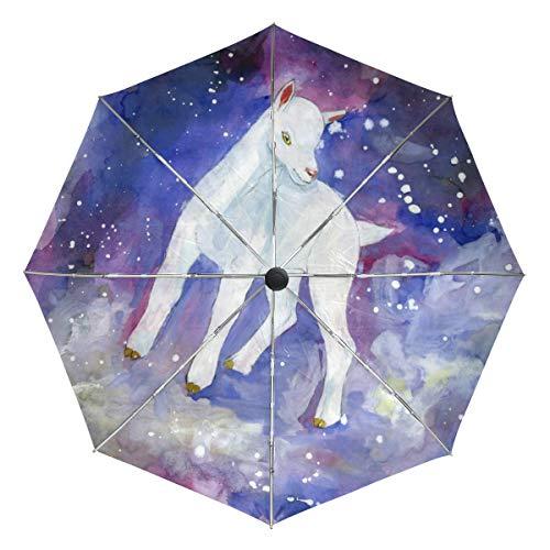 Wamika Paraguas automático de Cabra Blanca para Galaxy Starry, Resistente al Viento, Resistente al Agua, protección UV, Paraguas de Viaje, 3 Pliegues de Apertura y Cierre automático, Sol y Lluvia