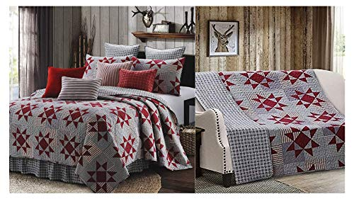Virah Bella Collection Phyllis Dobbs Carolina Red Polyester Full/Queen Quilt Bedding Set with 2 Standard Shams Bundled with Virah Bella Phyllis Dobbs Carolina Red Quilted Throw Blanket