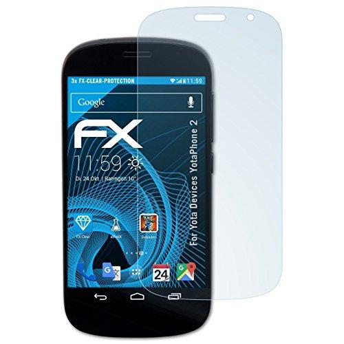 atFolix Schutzfolie kompatibel mit Yota Devices YotaPhone 2 Folie, ultraklare FX Bildschirmschutzfolie (3X)