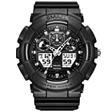 KXAITO Men's Watches Sports Outdoor Waterproof Military Wrist Watch Date Multi Function Tactics LED Alarm Stopwatch (z09_Black)