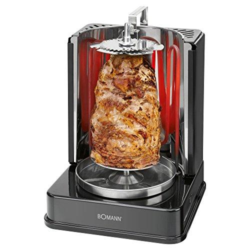 Bomann DVG 3006 CB 3in1 Döner-/Hähnchen und Schaschlik-Vertikal-Multigrill, perfekte Grillergebnisse durch gleichmäßige Hitzeverteilung, Edelstahl-Fettauffangbehälter, 1400 Watt, Schwarz