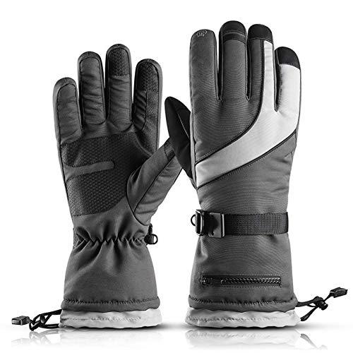 SADWQ Guantes De Esquí para Hombre Alpino/Deportes De Invierno Moto De Nieve Cálida Y Transpirable Invierno para Moto Guantes De Nieve Unisex Impermeables A Prueba De VientoGray-X Large