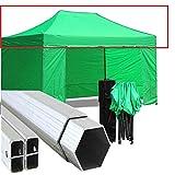 GAZEBOPIEGHEVOLI.COM Tetto Gazebo Pieghevole 3x4,5m Alluminio Rivestito PVC Telo Verde fiere chiosco...