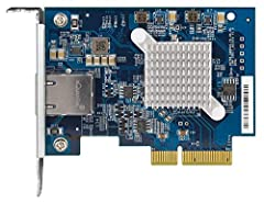 Pcie 3.0 ×4, low-profile, Aquantia AQtion AQC107 NIC 10Gbase-t/5GBASE-T/2.5Gbase-t/1000baset-t/100baset-tx (5-speed), one RJ45 port Full-height and specialized brackets (for designated QNAP NAS) included in the package.
