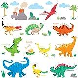 DECOWALL DS-8032 Bunte Dinosaurier Kinder Wandsticker Abziehbilder und Aufkleben Abnehmbare Wandaufkleber für Kinder Kinderzimmer Schlafzimmer Wohnzimmer B (klein)