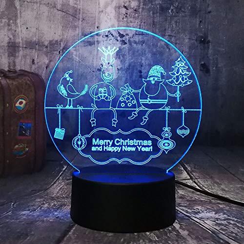 Jiushixw nachtlampje van acryl met afstandsbediening, 3D-nachtlampje, kleurrijk jaar Santa Baby Shiny Merry Christmas Kids cadeau, tafellamp, adapter