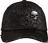Spiral - Skull Scroll - Baseball Caps Ditressed with Metal Clasp - L Black