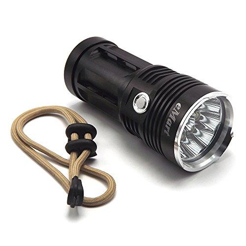 eMart 10000 Lumens LED Linterna, 10 x CREE XM-L T6 3 Modos de Antorcha, Lámpara de Luz de Caza, Requiere 4x 18650 (no incluido) - Negro