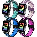Easuny Sport Band Compatible with Apple Watch Bands 40mm 38mm Women Men - Soft & Durable Silicone Replacement Strap Breathable Wristband with Air Holes for iWatch SE Series 6 5 4 3 2 1, M/L 4 Pack