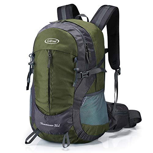 G4Free 35L Hiking Backpack Water Resistant Outdoor Sports Travel Daypack Lightweight with Rain Cover for Women Men (Army Green)