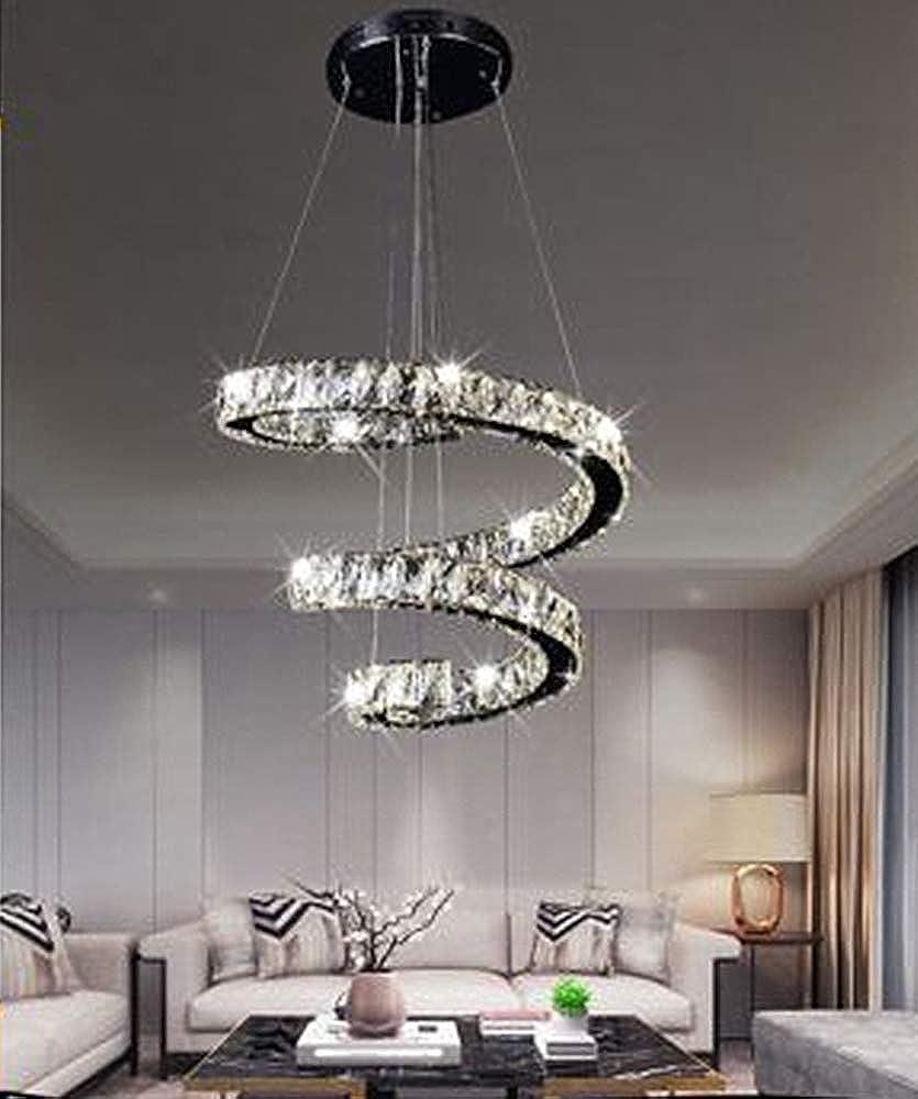 Sesamall,lampadario da soffitto led 32w a sospensione ,in acciaio e cristalli B15