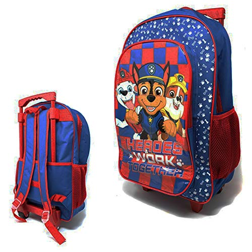 Kids Trolley Cabin Bag Suitcase with Wheels and Telescopic Handle - Ideal for Short Breaks, Holidays, sleepovers and School Trips (Paw Patrol)